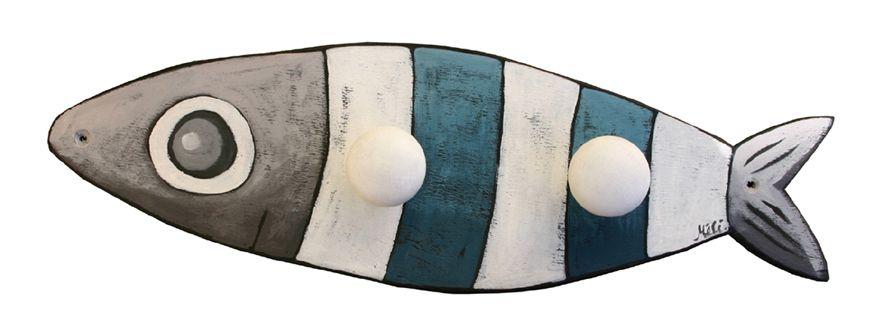 Porte-manteau en bois Sardine rayée