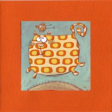 Carte double orange Chat disco