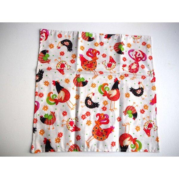 40- Serviette de table 33x33cm, petites poules/poules et coqs