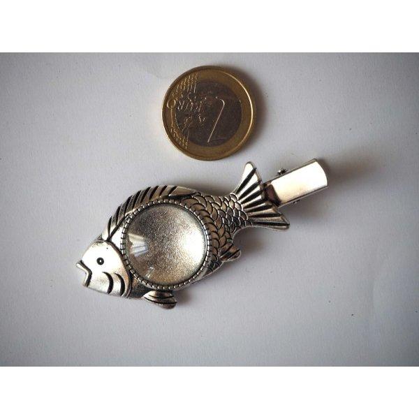 Barrette pince poisson, argent antique, cabochon 20mm  fourni