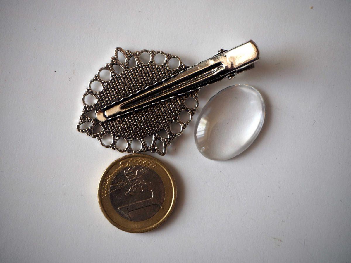 Barrette pince dentelle ovale, argent antique, cabochon 20mm  fourni