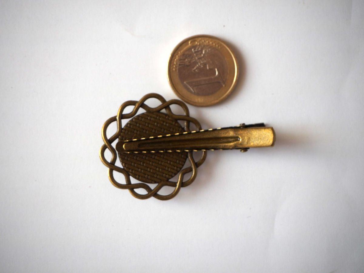 Barrette pince fleur, bronze antique, cabochon 20mm  fourni