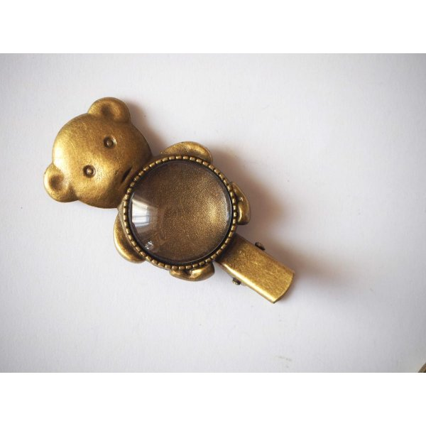 Barrette pince ours , bronze antique, cabochon 20mm  fourni