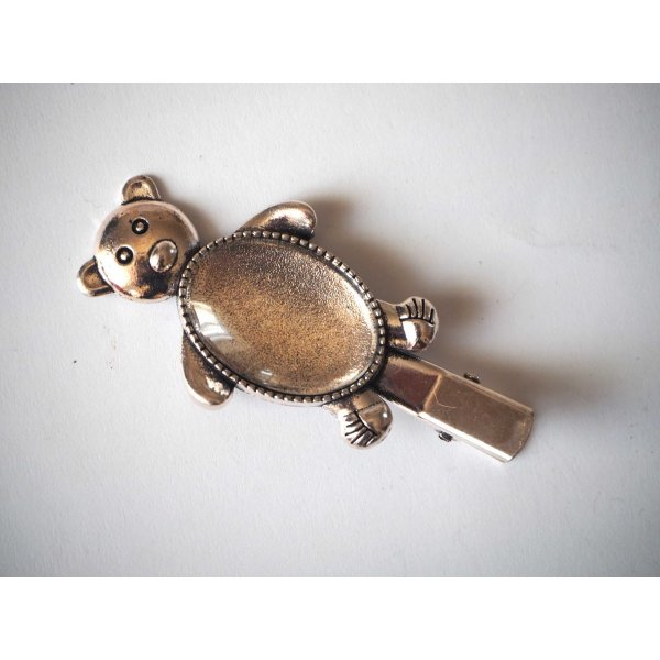 Barrette pince ours ovale, argent antique, cabochon 18x25mm  fourni