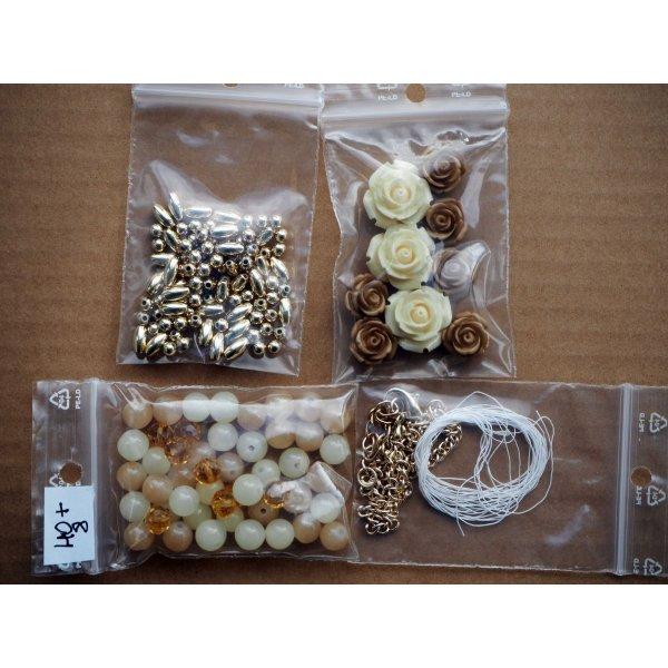 Bel ensemble de perles pour fabriquer un collier ou autre, tons beige/marron