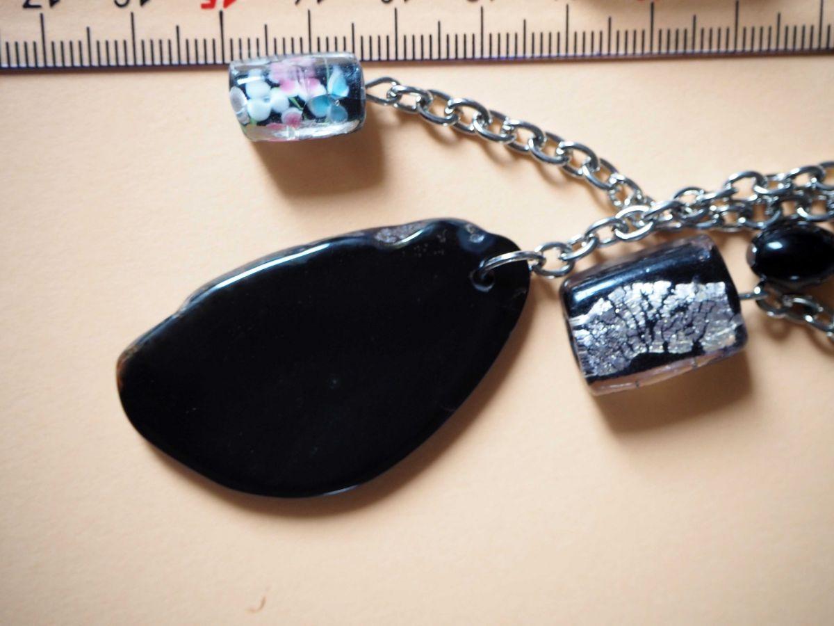 Bijou de sac, 16cm, belle agate noire 5x3cm, perles verre, agate