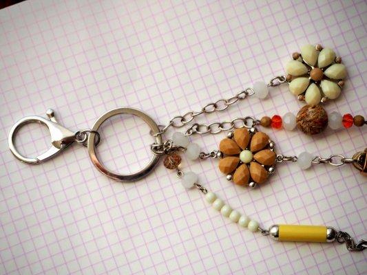 Bijou de sac  gros coeur beige en simili cuir 7x6cm avec strass, perles fleurs et autres, Saint Valentin ton beige/marron et blanc