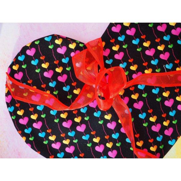 Bouillotte COEUR déhoussable, noir avec coeurs multicolores