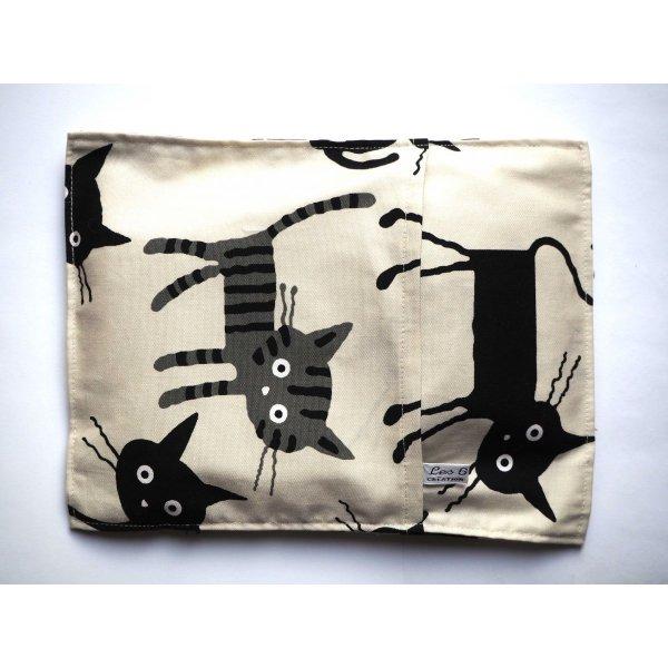 Bouillotte coton déhoussable 22x28cm beige avec chats noirs