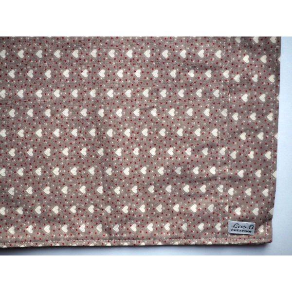 Bouillotte coton déhoussable 22x28cm toile beige avec coeurs