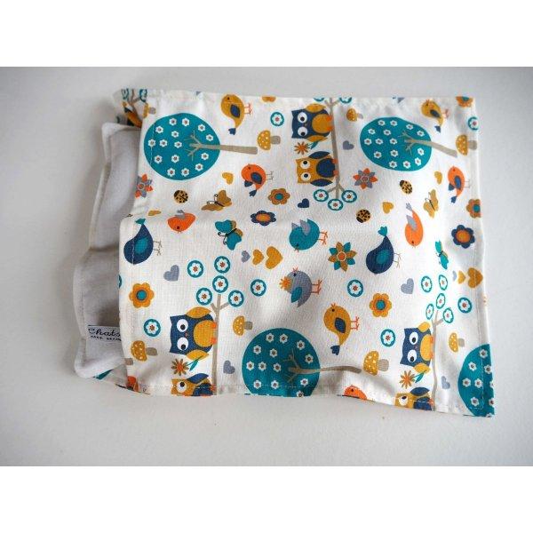 Bouillotte coton déhoussable 23x30cm  , tissu blanc forêt,
