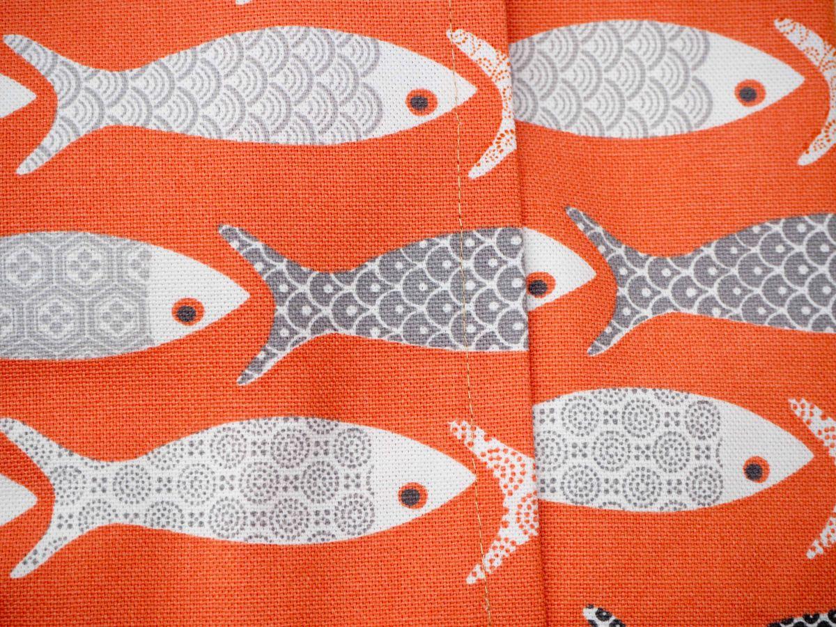 Bouillotte coton déhoussable orange avec poissons, 21x29cm