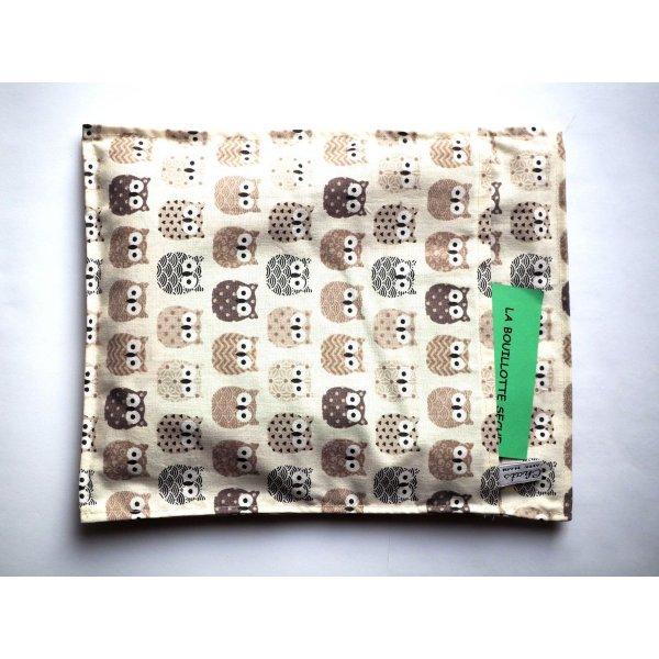 Bouillotte coton déhoussable 22x28cm  toile blanche avec chouettes beige