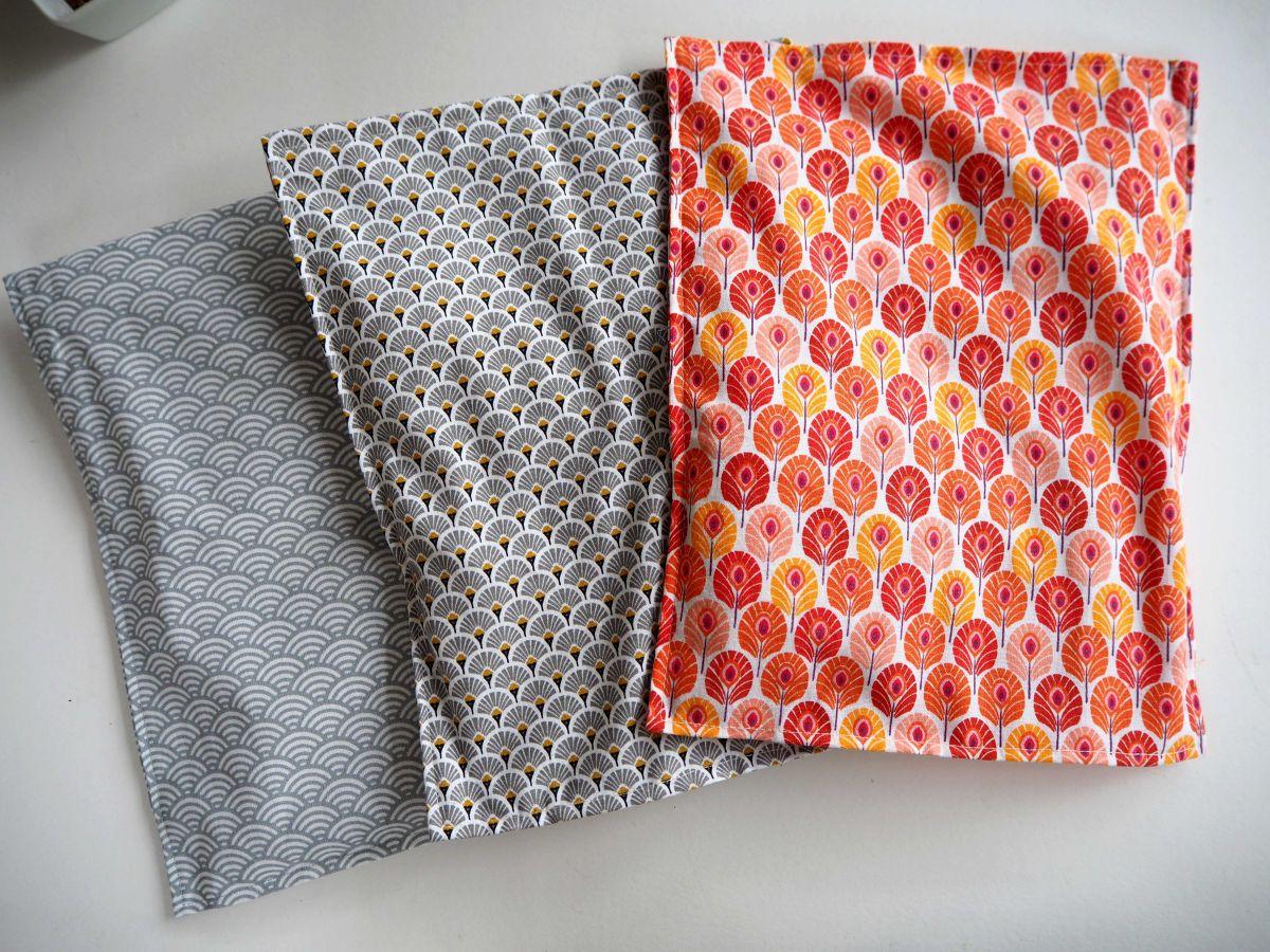 Bouillotte coton déhoussable 23x30cm  , tissu japonisant palmes rouges