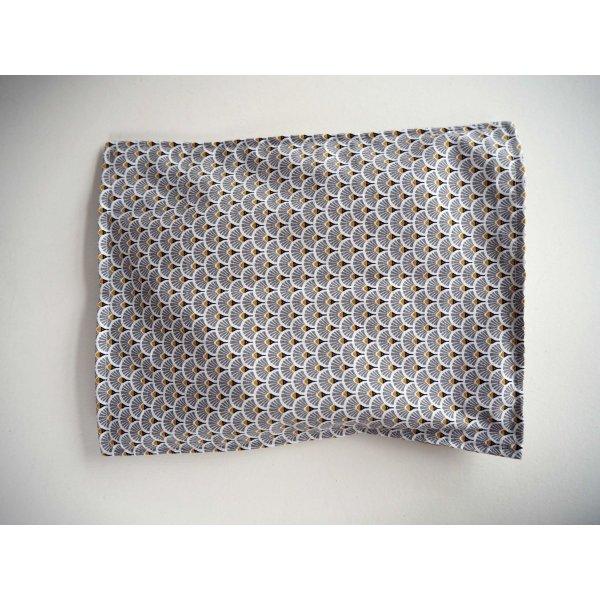 Bouillotte coton déhoussable 23x30cm  , tissu japonisant éventails gris