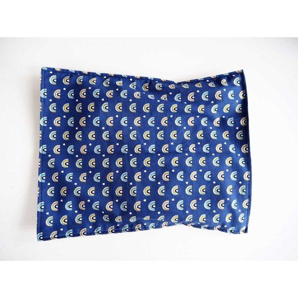 Bouillotte coton déhoussable 23x30cm  , tissu bleu petits ponts colorés