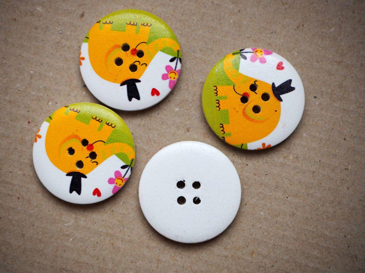 Gros bouton bois, éléphant jaune, vendu à l'unité