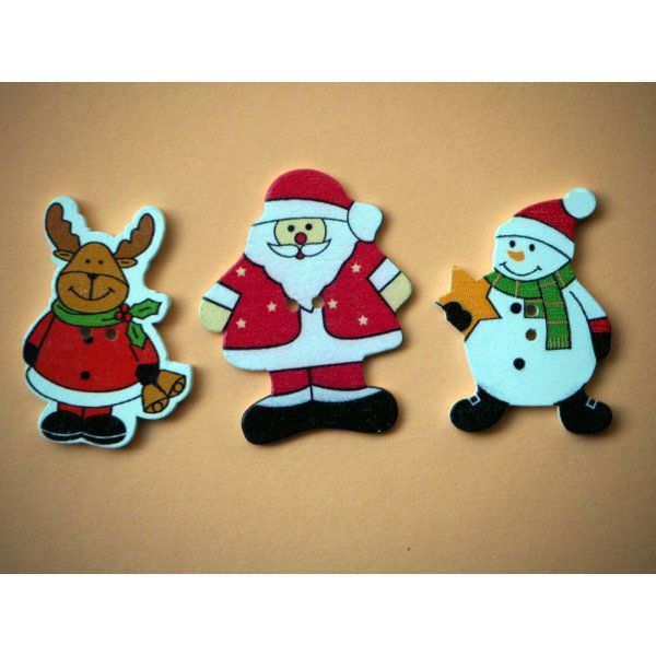 5 Boutons bois blancs avec  personnages de Noël, 21/45mm