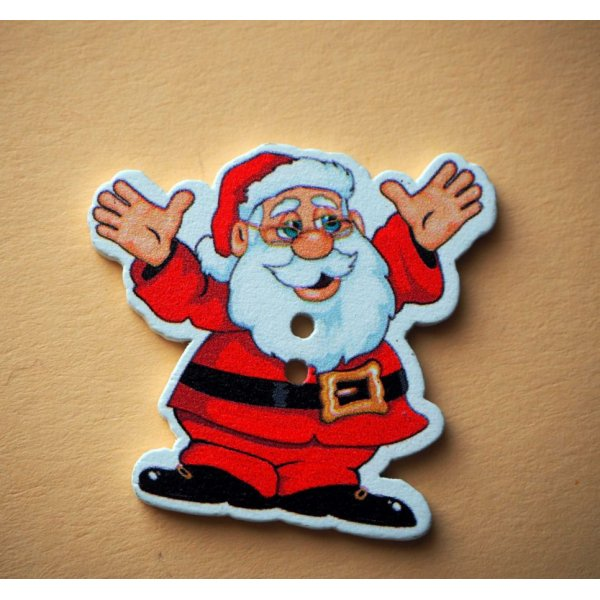 4 Boutons bois blancs Père Noël, 33x35mm