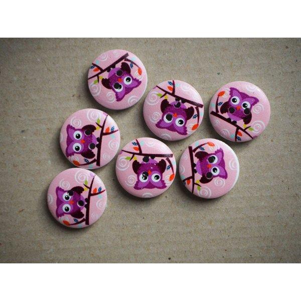 Boutons bois avec chouette ton blanc/violet
