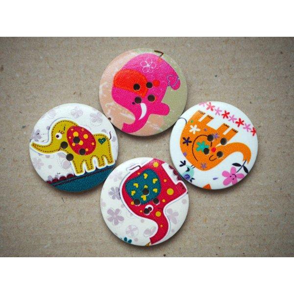 LOT 4 Gros boutons bois éléphants différents