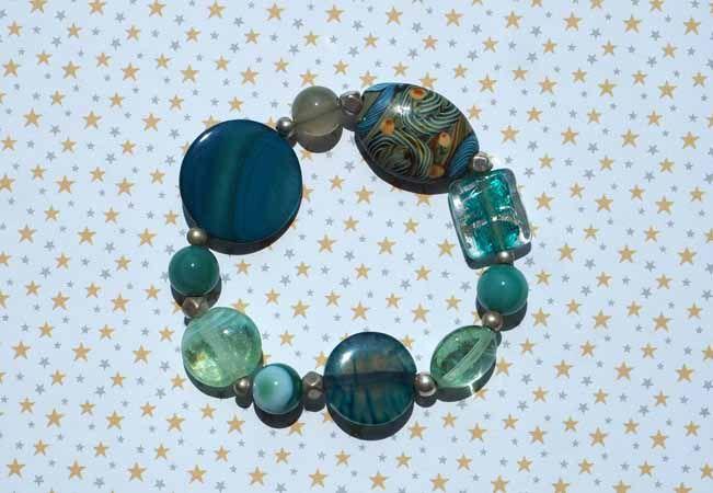 Bracelet+boucles d'oreilles ton bleu: verre, pierre, nacre, agate