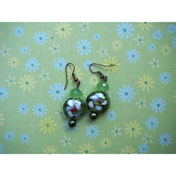 Bracelet+boucles d'oreilles ton vert: verre, pierre, nacre, agate