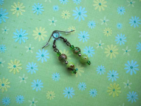 Bracelet+boucles d'oreilles ton vert: verre, pierre,  agate