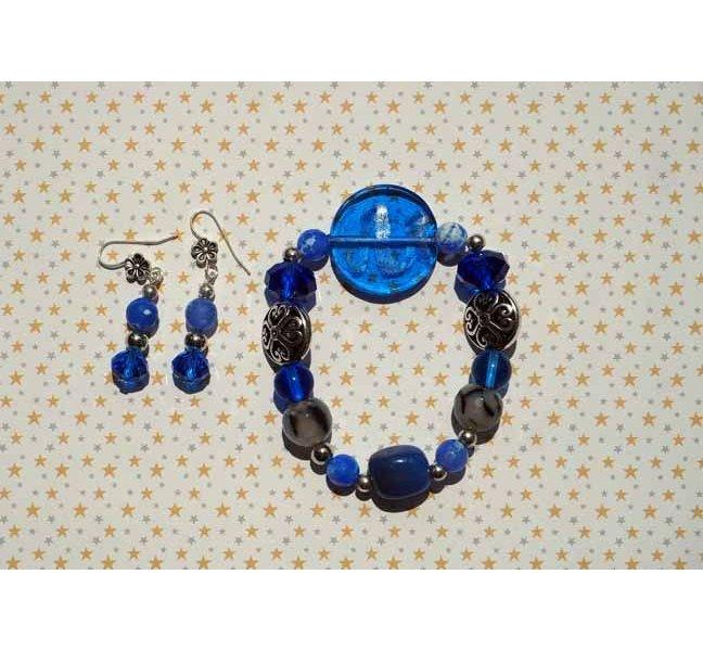 Bracelet+boucles d'oreilles ton bleu: verre, cristal, métal, pierre