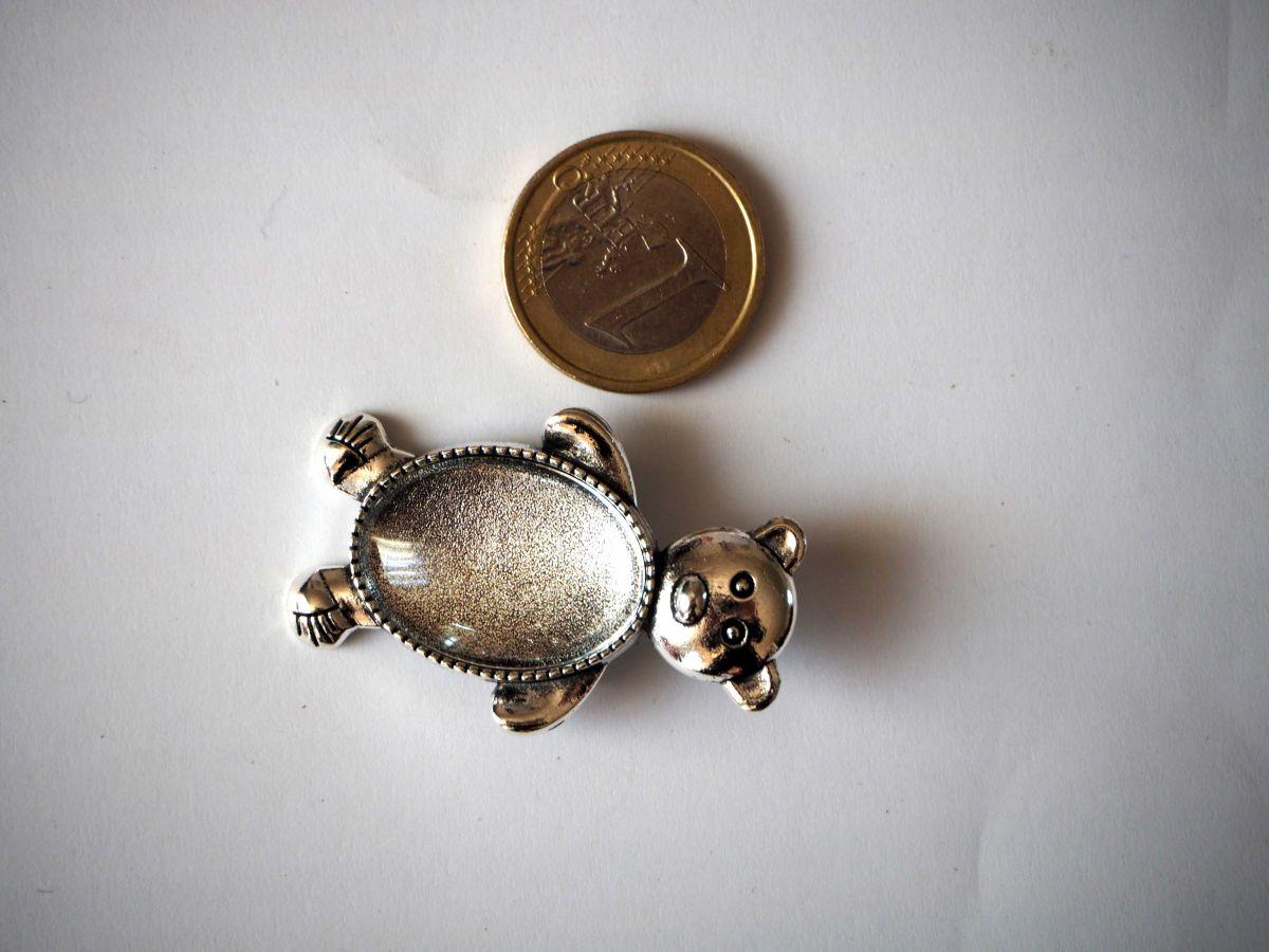 Broche ours argent antique, cabochon verre 18x25mm fourni
