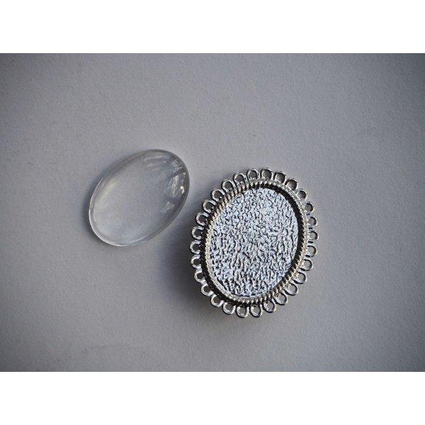 Broche épingle, cabochon ovale 25x18mm, argenté dentelé brillant
