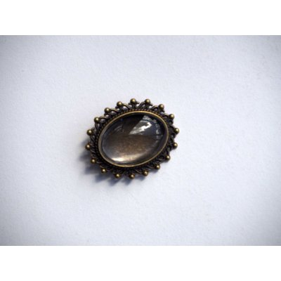 Broche épingle, cabochon ovale 25x18mm, bronze antique avec ornements