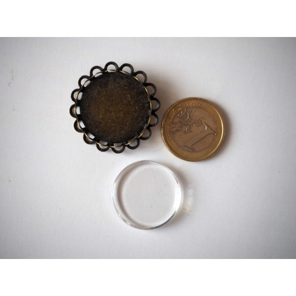 Broche ronde dentelée, bronze antique, cabochon verre 25mm fourni