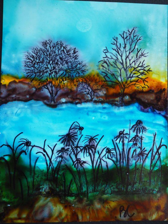 Carte tableau, AU BORD DU LAC,peinture à l'alcool, modèle unique et original