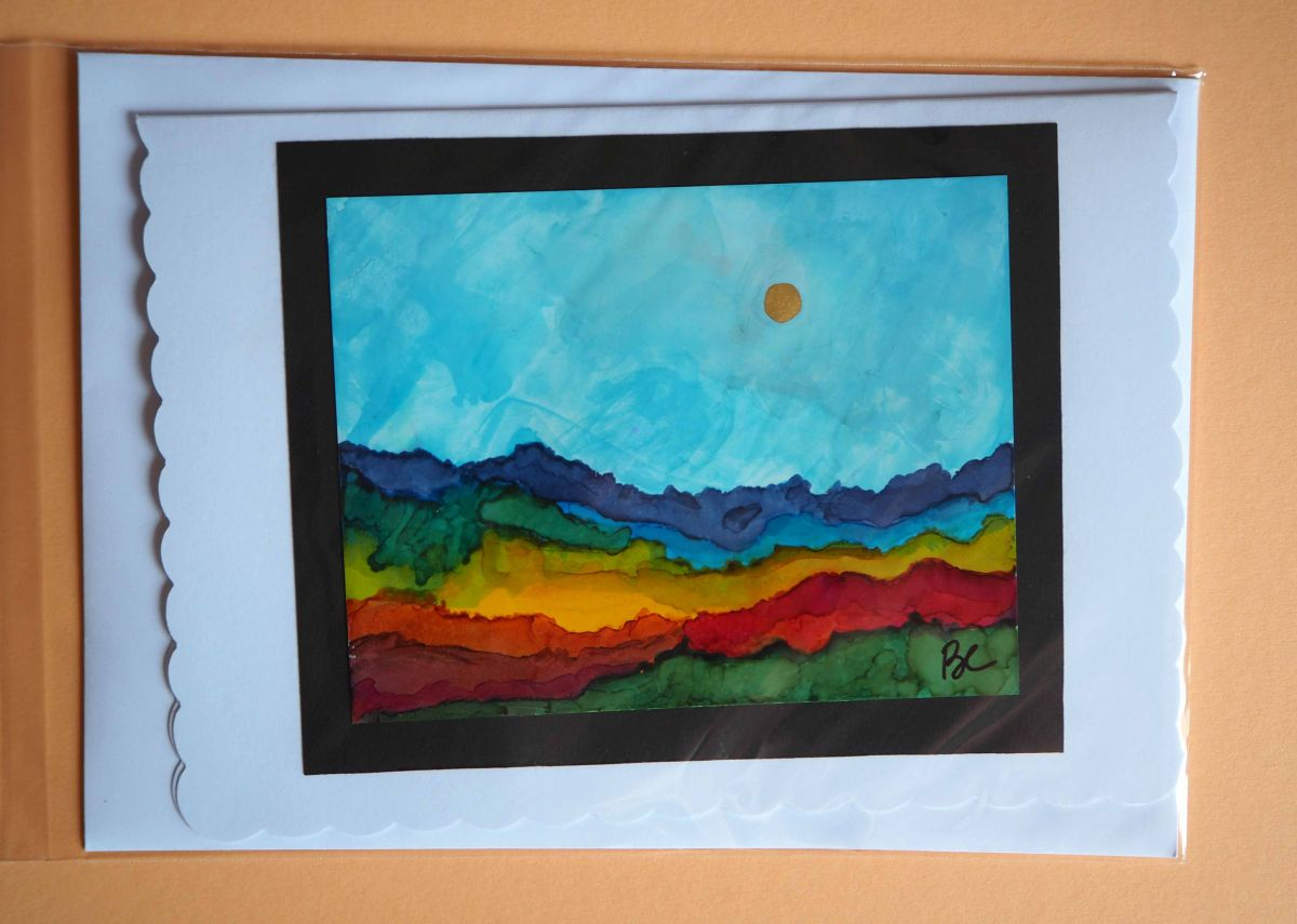 Carte tableau, PROMENADE_1, peinture à l'alcool, modèle unique et original