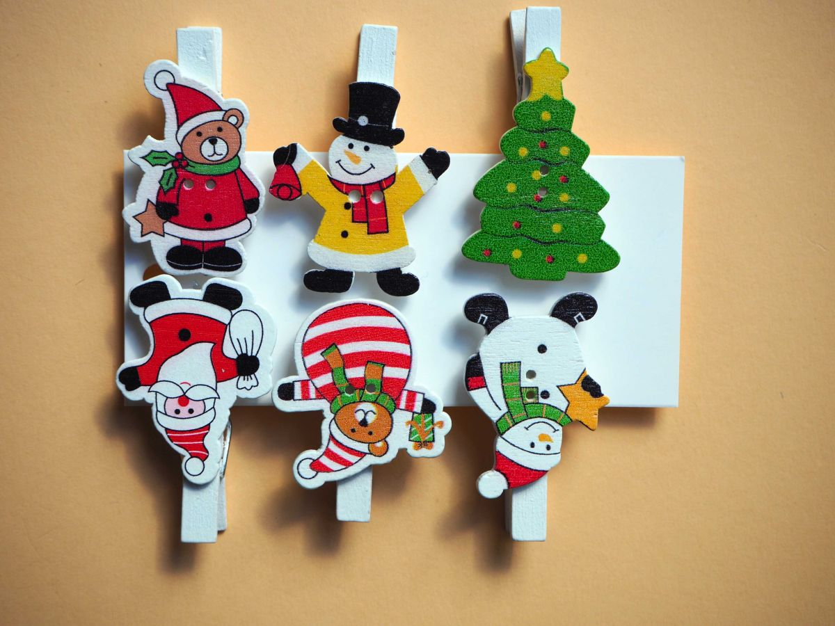 6 Clips de Noël, pour marquer ou fermer, 52x35mm
