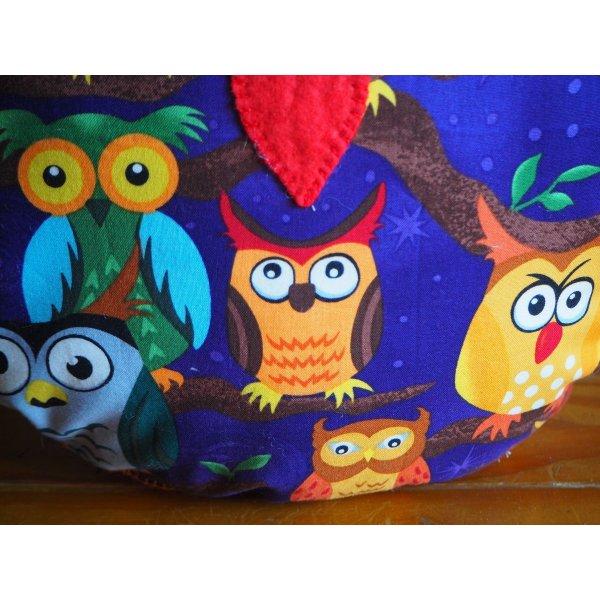 Coussin chouette/hibou, 34x28cm, tissu coton bleu avec grandes chouettes colorées