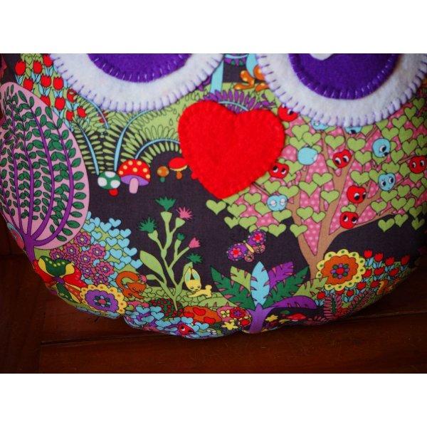 Coussin chouette/hibou, 34x28cm, tissu coton avec feuillage ton vert et rose