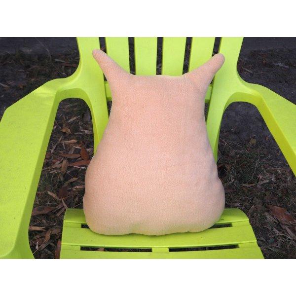 Coussin Grande Chouette/hibou, 46x40cm, fond beige avec chats et souris , brodé main