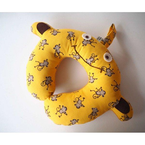 Coussin nuque , modèle animal, tissu jaune, singes