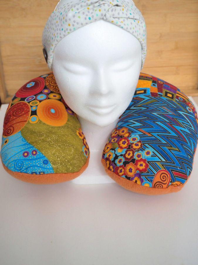 Coussin de nuque, de repos, tour de cou, tissu japonais, Klimt