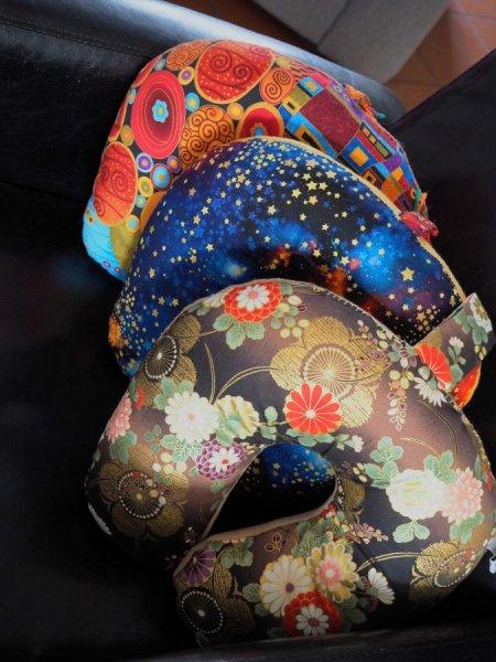 Coussin de nuque, de repos, tour de cou, tissu japonais, ciel étoilé
