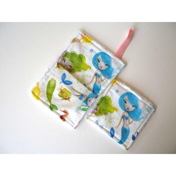 Débarbouillette nettoyante bébé/enfant, sirènes ton vert/rose/bleu