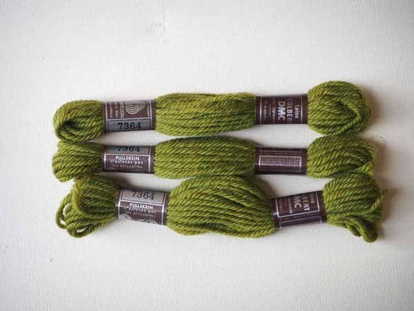 Echevette 8m ,  7364, ton vert, 100% pure laine Colbert