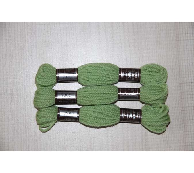 Echevette 8m  7382, ton vert, 100% pure laine Colbert