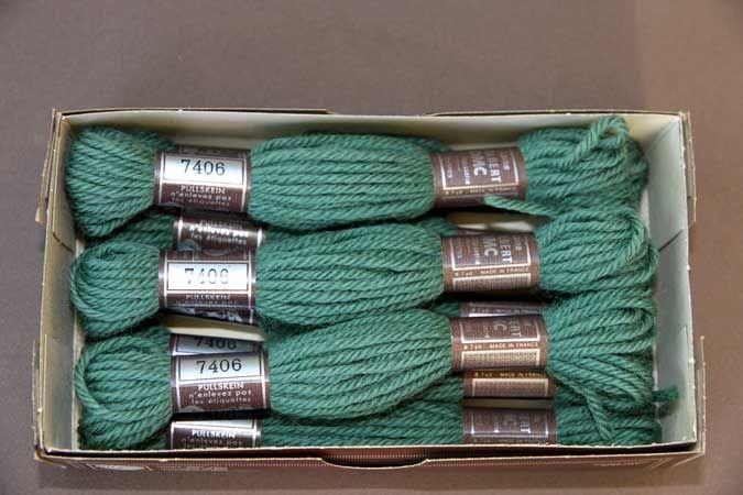 Echevette 8m  7406, ton  vert, 100% pure laine Colbert