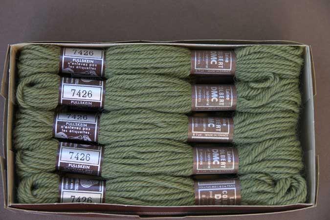 Echevette 8m  7426, ton vert, 100% pure laine Colbert