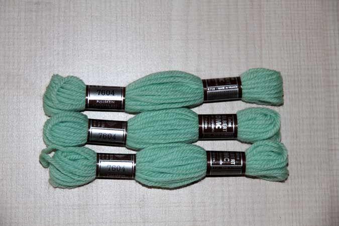Echevette 8m  7604, ton vert clair, 100% pure laine Colbert