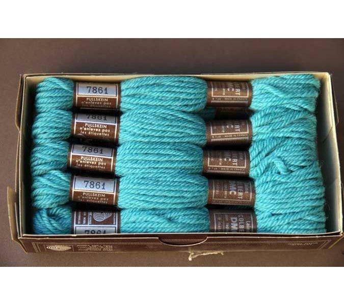 Echevette 8m  7861, ton bleu turquoise , 100% pure laine Colbert DMC
