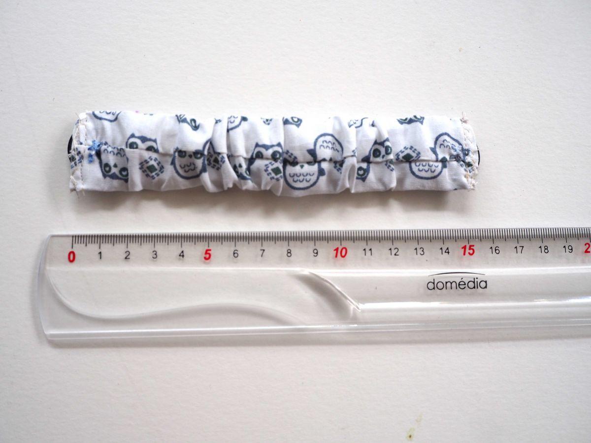 Economiseur d'oreilles, 15cm non étiré, blanc avec chouettes grises